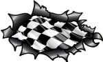 Ripped Torn Carbon Fibre Fiber Design With Chequered Checkered Racing Flag Motif External Vinyl Car Sticker 150x90mm (3)